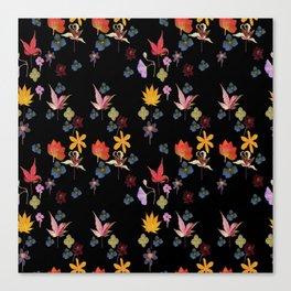 Dark Floral Garden Canvas Print
