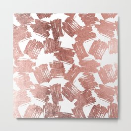 Modern faux rose gold artistic brushstrokes pattern Metal Print