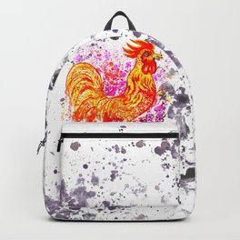 Watercolor rooster with sakura Backpack