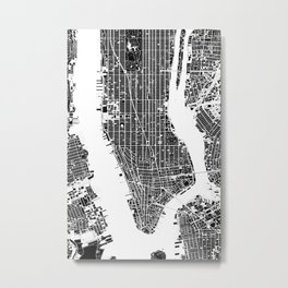 New York city map black and white Metal Print