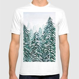 snowy pine forest in green T-shirt