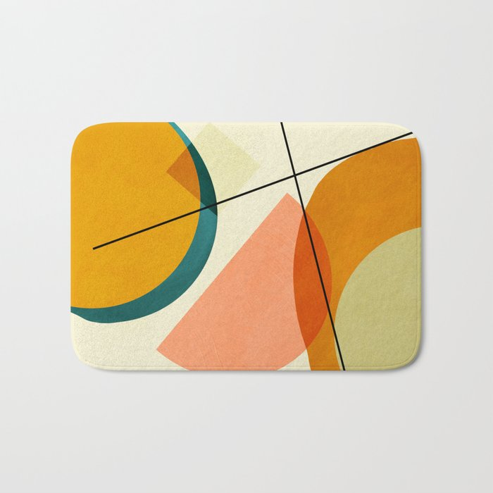 mid century geometric shapes painted abstract III Bath Mat