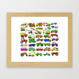 Doodle Trucks Vans and Vehicles Framed Art Print