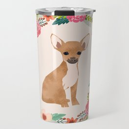 chihuahua floral wreath flowers dog breed gifts Travel Mug