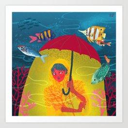 Umbrella in Paris Art Print
