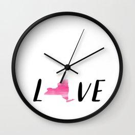 New York Love - Pink Watercolor Wall Clock