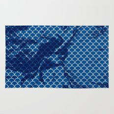 Snorkel blue small scallops with dark texture Rug