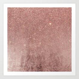 Girly Glam Pink Rose Gold Foil and Glitter Mesh Art Print