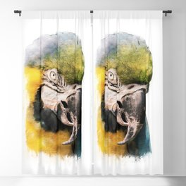 Watercolour parrot bird Blackout Curtain