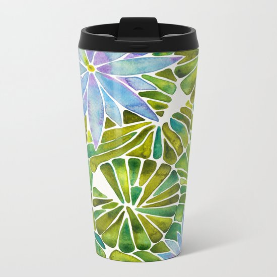 Water Lilies – Lavender & Green Palette Metal Travel Mug