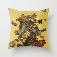 leaves Throw Pillows featuring Fox Confessor by Lindsey Carr