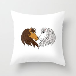 Simple Horsing Tee For Horse Lovers With Illustration Of 2 Horses Making Heart T-shirt Design  Throw Pillow