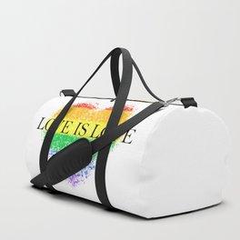 Love Is Love Rainbow Pride Heart 7 Minimalist Art Duffle Bag