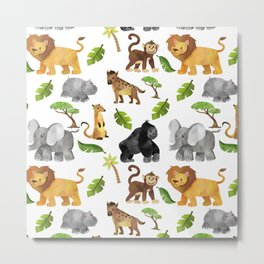 Safari Animals Pattern Watercolor Metal Print