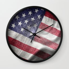 4th of July Fabric of America Wall Clock
