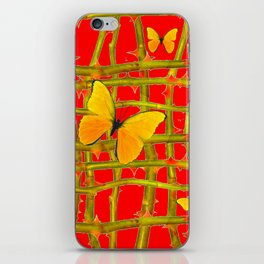YELLOW BUTTERFLIES & RED THORN LATTICE iPhone Skin