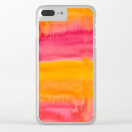 Sunset Watercolor Clear iPhone Case