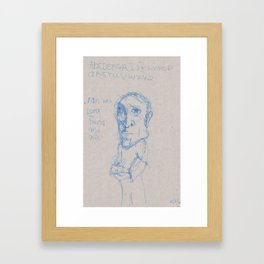 Man with Long Face and Gift Framed Art Print