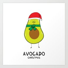Avocado Christmas Art Print