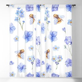Elegant lavender brown watercolor honey bee floral Blackout Curtain