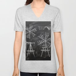 steampunk western country chalkboard art agriculture farm windmill patent print Unisex V-Neck