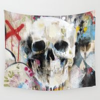 skull Wall Tapestries featuring Skull by FAMOUS WHEN DEAD