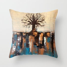 Abstract Tree - Teal and Brown Landscape Painting Throw Pillow