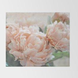 Peach Peonies Throw Blanket
