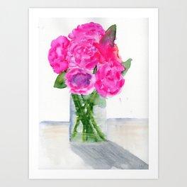 Peonies in a Vase Art Print