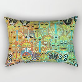 Tribal Mask Pattern Translucent with Gold Rectangular Pillow