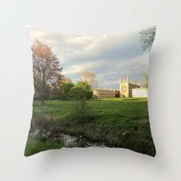 King's Colledge Cambridge one sunny evening. Throw Pillow