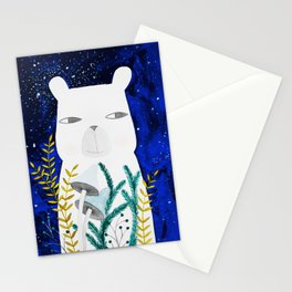 polar bear with botanical illustration in blue Stationery Cards