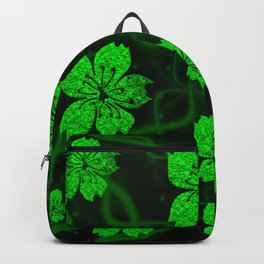 artfully painted green asian  blossoms on the dark background Backpack
