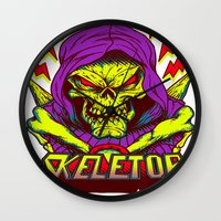 skeletor Wall Clocks featuring skeletor by Vincent Trinidad