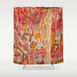 The Red Wall Shower Curtain