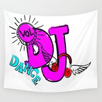 dj Wall Tapestries featuring DJ by Christa Bethune Smith
