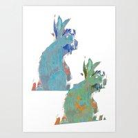 rabbits Art Prints featuring rabbits by Geckojoy