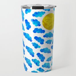 Cute blue cartoon clouds and sun. Travel Mug