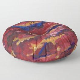 Red Clouds Sky Floor Pillow