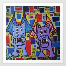 PuppyDragon MondrianCubes Art Print