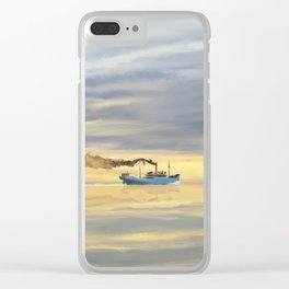 Old Cargo Ship Steaming on the Horizon Clear iPhone Case