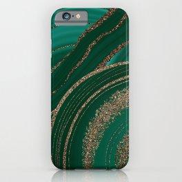 Emerald Marble Glitter Glamour Landscape II iPhone Case
