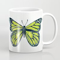 lime Mugs featuring Lime Butterfly by Cat Coquillette