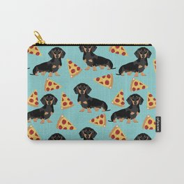 dachshund pizza black and tan doxie dog breed cute pattern gifts Carry-All Pouch