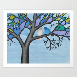 indigo buntings in the stained glass tree Art Print