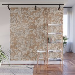 Vintage white brown grunge shabby floral Wall Mural