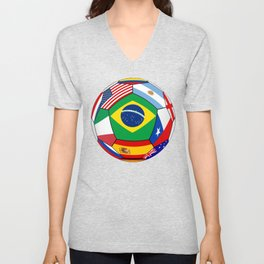 Ball With Various Flags Unisex V-Neck