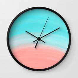 Artsy Modern Coral Blue Brushstroke Gradient Wall Clock