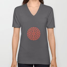 Cai / Wealth In Red And Chamois Unisex V-Neck
