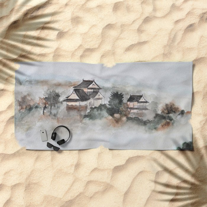 Japanese ancient city in fogging day Beach Towel